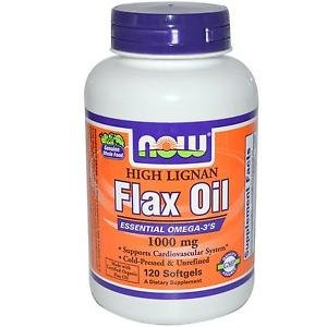 Now Foods High Lignan Flax Oil Certified Organic 1000 mg - 120 Softgels