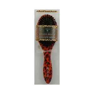 Earth Therapeutics Regular Natural Bristle Cushion Brush with Leopard Design