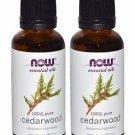 2 Bottles Now Foods Essential Oils 100% Pure Cedarwood - 1 fl oz (30 ml)