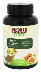 NOW Foods Pet Allergy For Dogs/Cats 75 Chwbls