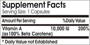 Vitamins Because Your Worth It Beta Carotene 10,000 IU - 100 Caps
