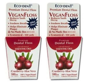 2 Pack Eco-Dent Premium Dental Floss VeganFloss Cranberry-Aloe Vera - 100 yards