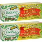 2 Pack BioBag Certified Compostable Tall 13 Gallon Food Waste Bags - 12 Count