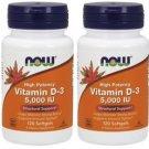2 Pack Now Foods Vitamin D-3 5,000 IU - 120 Softgels