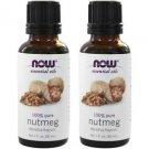 2 Bottles Now Foods Nutmeg Oil 100% Pure 1 fl. oz