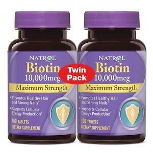 Natrol Biotin 10,000 Mcg 100 Tablets Maximum Strength Pack of 2 - exp 05/2018