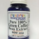 100% Pure Green Coffee Bean Extract Chlorogenic Acid 800mg Weight Loss 180 Caps