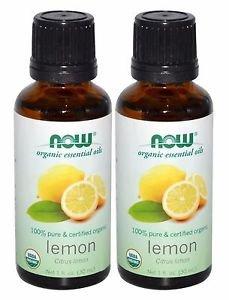 2 Bottles Now Foods Essentials 100% Pure & Organic Lemon Oil - 1 fl oz (30 ml)