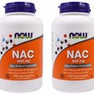 2 Pack Now Foods NAC (N-Acetyl Cysteine) 600 mg - 250 Vegetarian Capsules