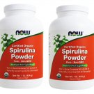 2 x NOW 100% Pure Non-GMO Organic Spirulina Powder 1 lb, USDA Certified, FRESH