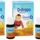 3x Baby Ddrops Liquid Vitamin D3 400 IU Dietary Supplement 90 Drops 2.5 ml