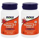 4 x NOW High Potency Vitamin D-3 5000 IU 240 Softgels Structural Support FRESH