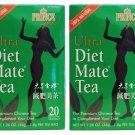 2 Pack Prince of Peace 100% Natural Ultra Diet Mate Tea - 20 Tea Bags