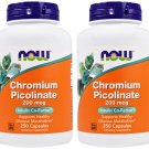 NOW Foods Chromium Picolinate 200mcg - 250 Capsules (Pack of 2)