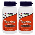 Taurine 500mg 100 Caps by Now Foods (Pack of 2)