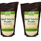 2 x NOW Foods Beef Gelatin Powder 16 oz (1 lb), Good Source of Protein, FRESH