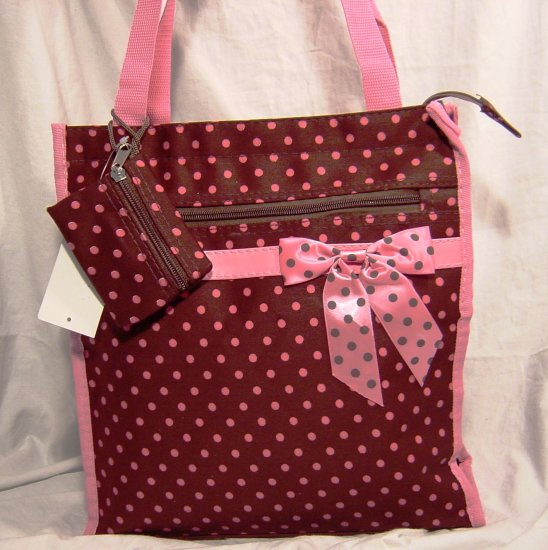 Brown and Pink Polka Dots Tote Bag