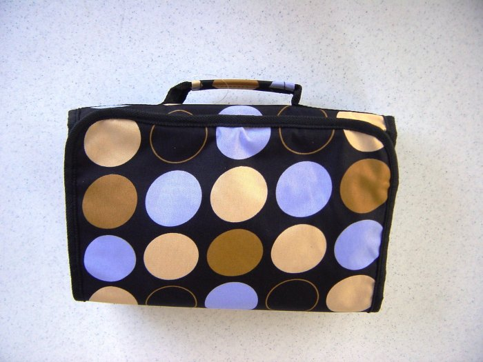 Blue, Brown and Tan Hanging Cosmetic Travel Bag