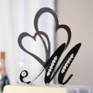 Monogram Black Cake Topper with Clear Crystals