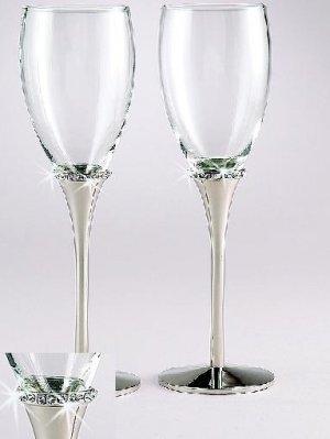 Regal Crystal Rings Toasting Glasses Flute Set