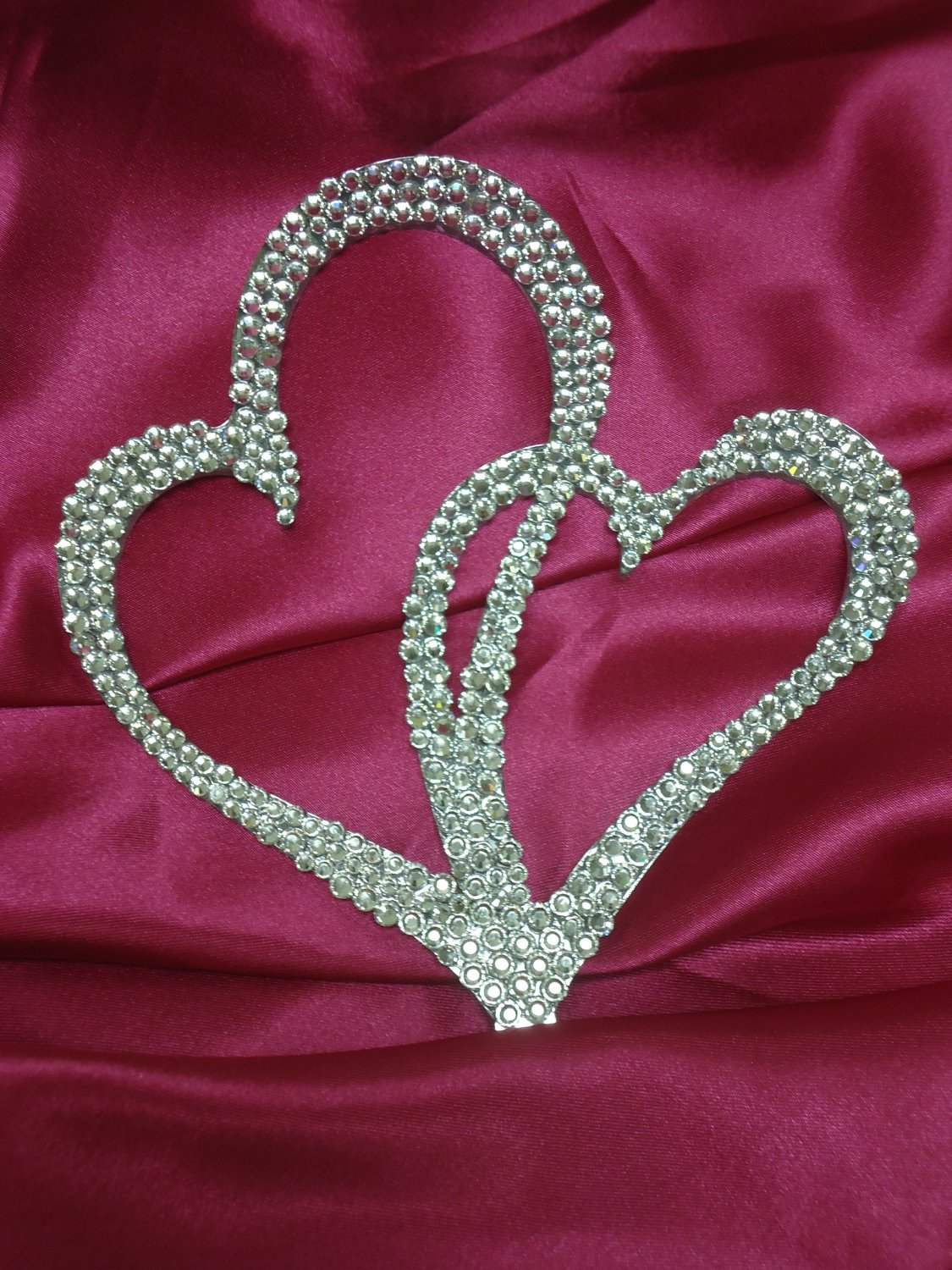swarovski crystal double heart wedding cake topper swarovski cake topper 20673