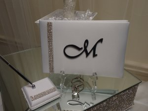 Monogram Guest Book and Pen Set Package (Black)