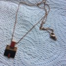 Hermes Eileen rose gold plated pendant necklace signed