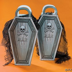"7"" x 1 1/2"" x 14"" Cardboard ""R.I.P."" Coffin-Shaped Gift Bags."