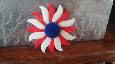Red White Blue Metal Enamel Pin Patriotic Flower Style Pin Brooch Lapel Pin