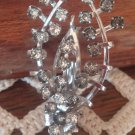 Vintage Rhinestone Wishbone Flower Bouquet Pin