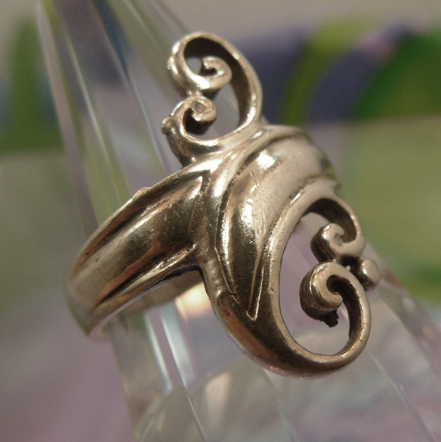 Size 9 Ring : Vintage Tall Sterling 925 Silver Swirling Art Deco Design