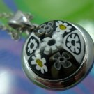 Pendant : Sterling 925 Black White & Yellow Alan K. Millefiori Glass NWOT Chain