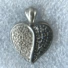 Black & White Pave Diamond Heart Pendant : Sterling 925 Silver Hallmarked HN