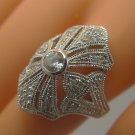 Size 8 Ring : sterling silver signed NF TALL pave CZ or RHINESTONES for SPARKLE