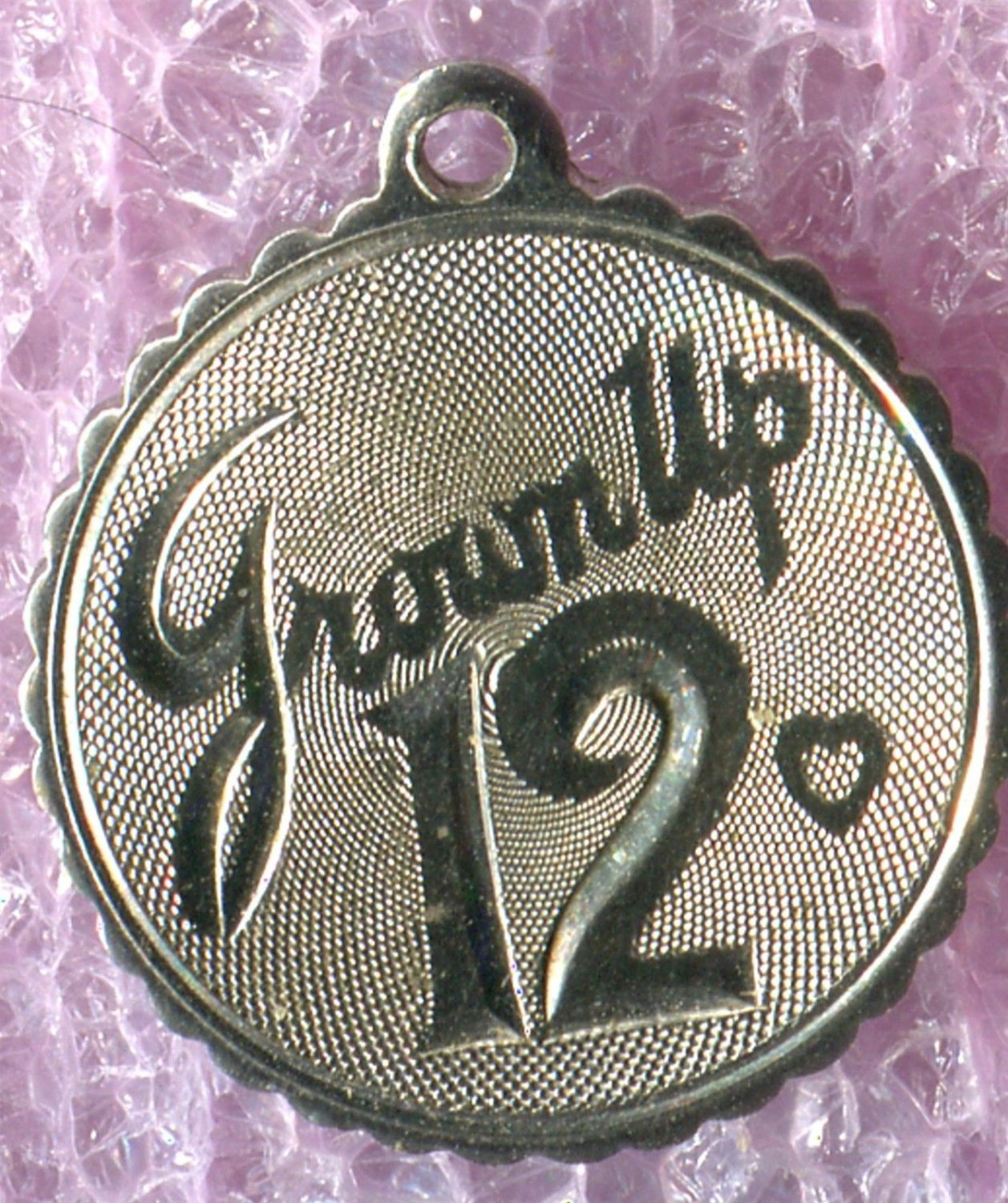 """Vintage """"Grown Up 12"""" Birthday Charm :  Sterling 925 Silver"""