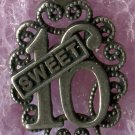 "Vintage ""Sweet 16"" Birthday Charm : Sterling Filigree by SMC"