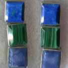 Post Earrings : Sterling Taxco Mexico 3 Hinged Stones Malachite & 2 Blue Stones