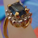 Size 4.5 Ring : Gold Vermeil over Sterling Rhinestones & Sapphire Blue Gemstone