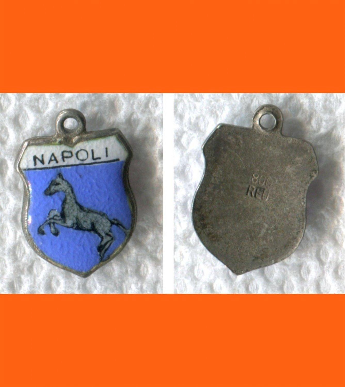 NAPOLI  Enamel & Silver Travel Shield Souvenir Charm