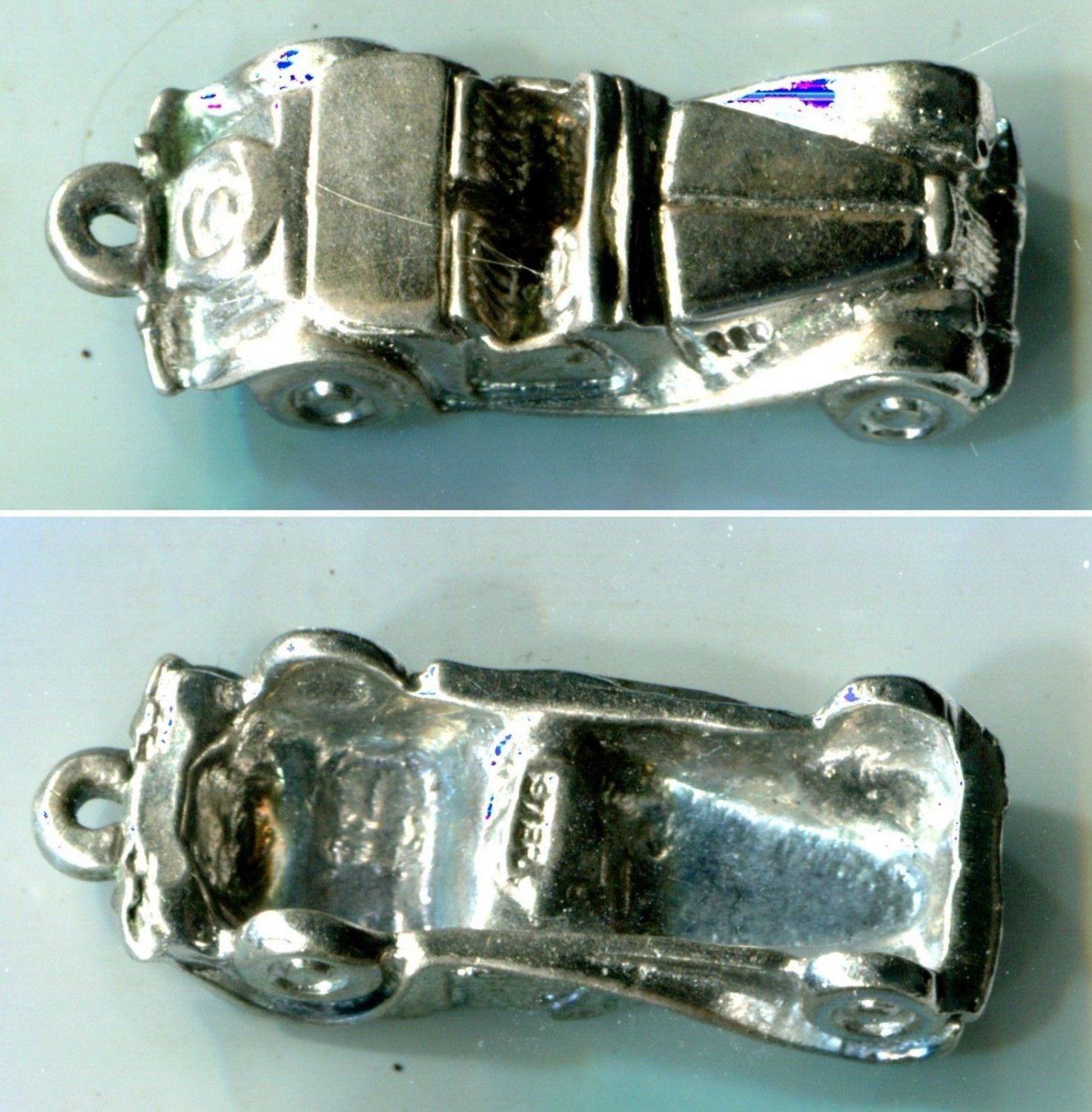 CHARM: sterling 925 silver VINTAGE CONVERTIBLE CAR AUTOMOBILE #1