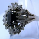 sz 6.5 Sterling Silver Ring - Rhinestones Around Dark Blue or Black Center Stone