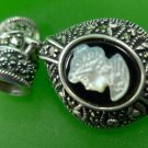 Puffy Oval Black & White Cameo Slider Pendant  - Reversible A 925 Thailand