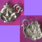 Vintage Sterling alice wonderland  WHIMSICAL SMILING TEAPOT 925 CHARM