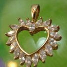 Vintage Gold Vermeil Over Sterling Heart Pendant Hallmarked 925 CZ