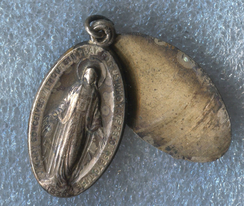Vintage Sterling Miraculous Mary Slide Locket Medal Place For Monogram