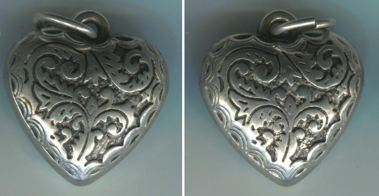 Vintage Detailed Art Nouveau Puffy Silver Heart Charm  #19352