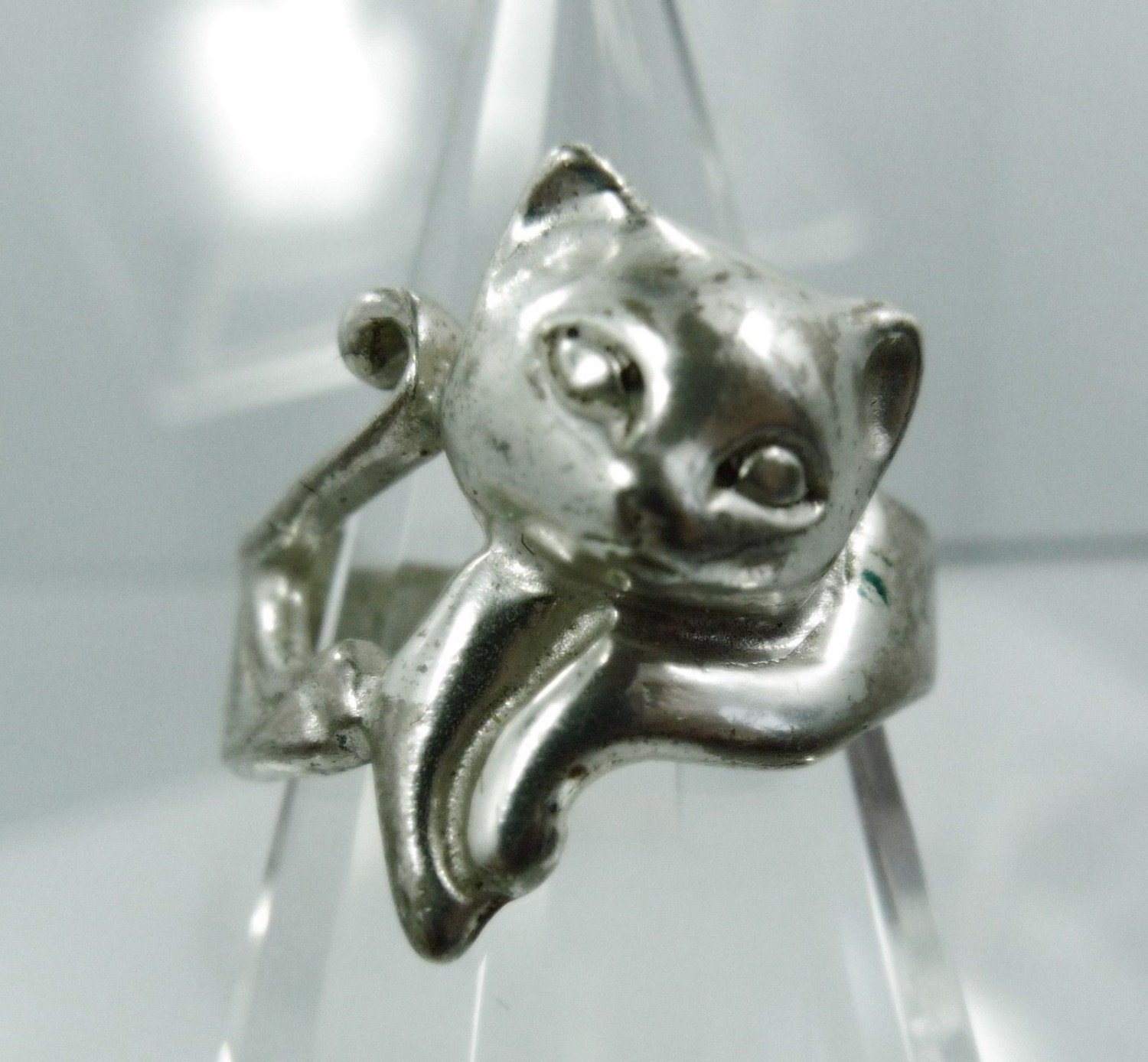 sz 6 Wrap Around Cat Ring (Bypass) Sterling 925 Silver Cat w/ Large Face Signed