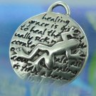 Inspirational Kevin & Anna Charm 950 Silver / FROG = HEALING QUOTE / 16mm