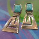 vintage HINGED TURQUOISE and SILVER signed R.T. 79 : POST EARRINGS