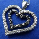 "Heart Pendant Sterling 925 Silver Black and White Stones marked CZ CH 17"" Chain"